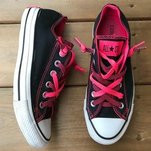 Converse Chuck Taylor Double Lace Neon Black Pink Sneakers Runners Running Shoes